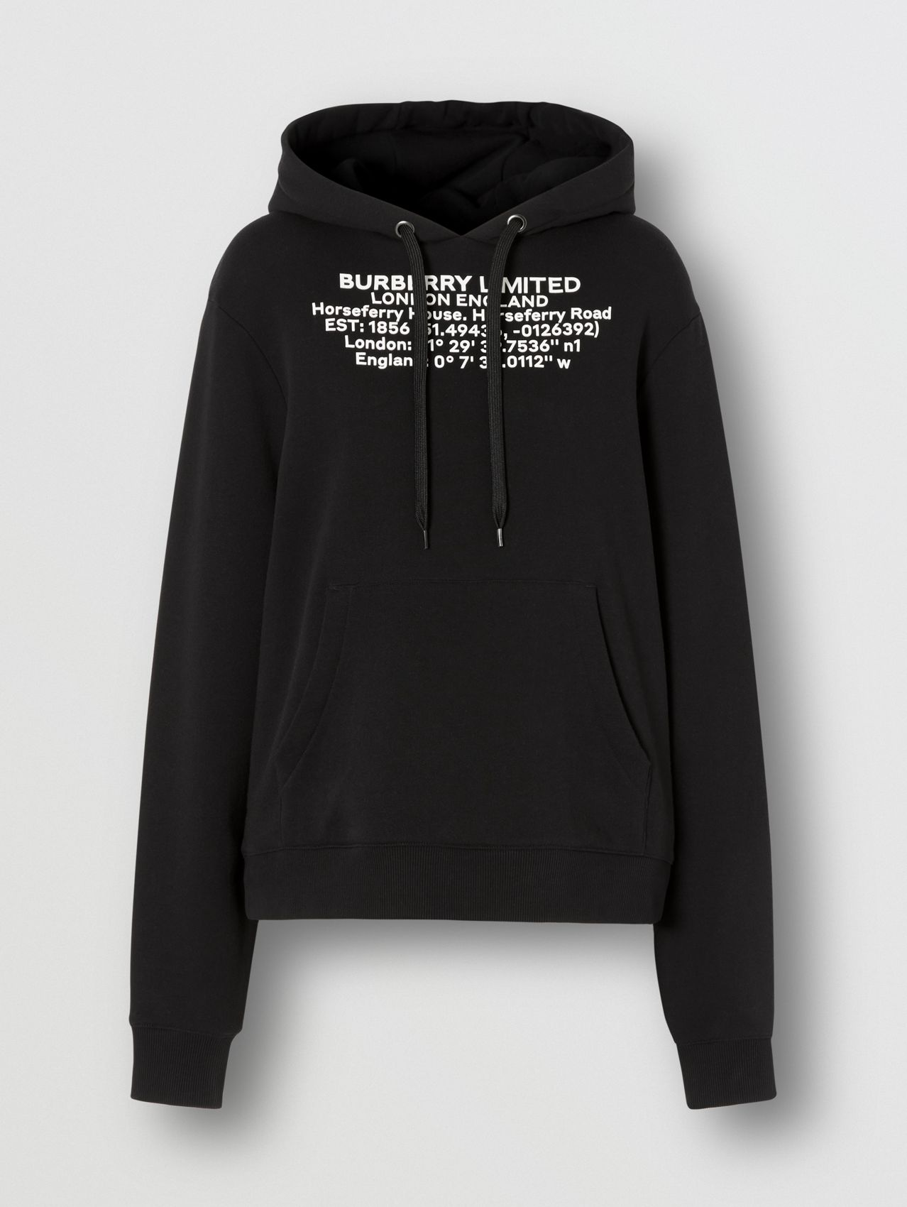 Location Print Cotton Oversized Hoodie in Black