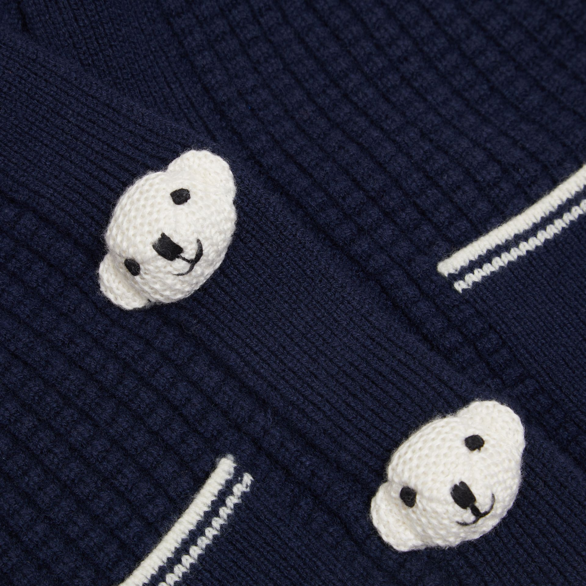 Thomas Bear Detail Wool Cashmere Hooded Jacket in Navy - Children | Burberry United Kingdom - gallery image 1