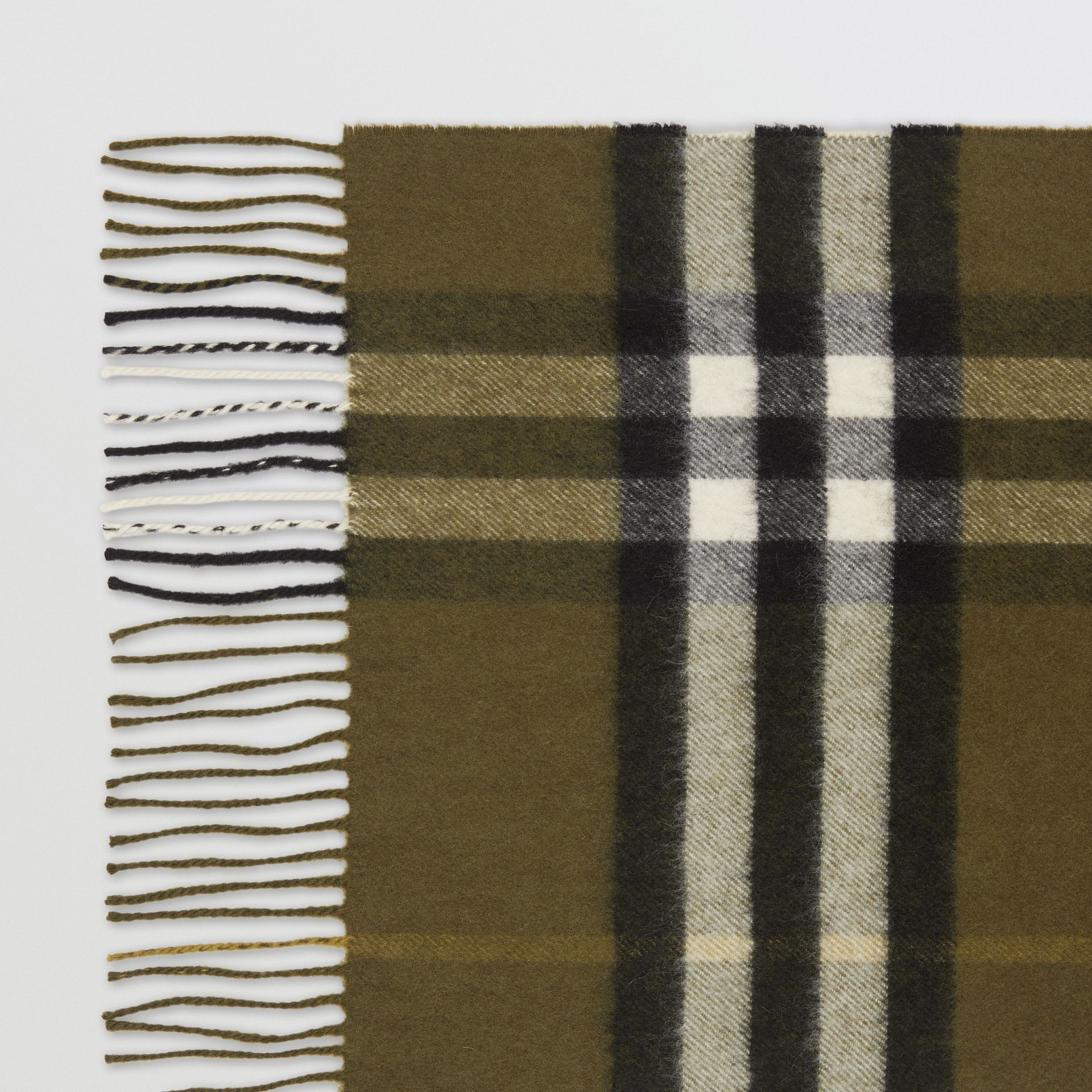 The Classic Check Cashmere Scarf in Olive Green | Burberry United Kingdom - gallery image 1