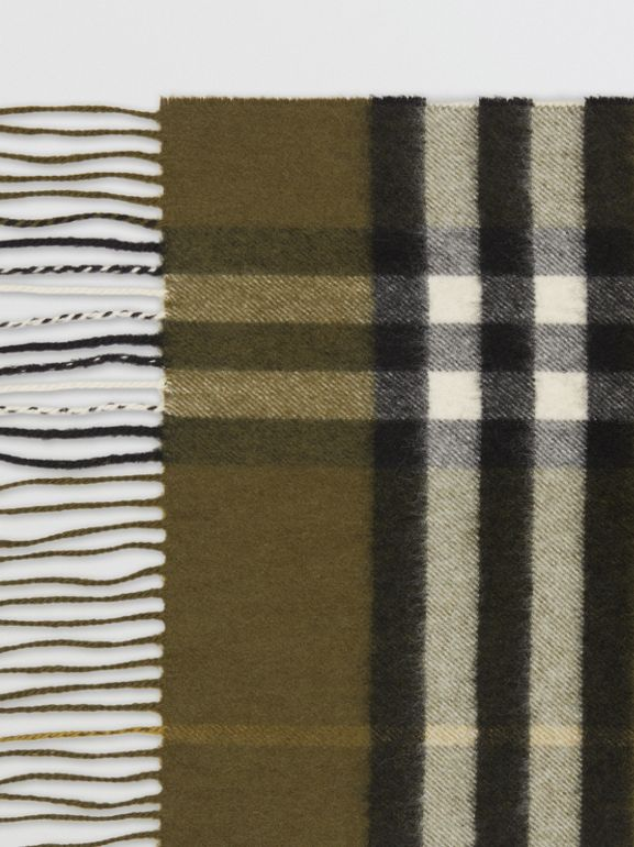 The Classic Check Cashmere Scarf in Olive Green | Burberry United States - cell image 1