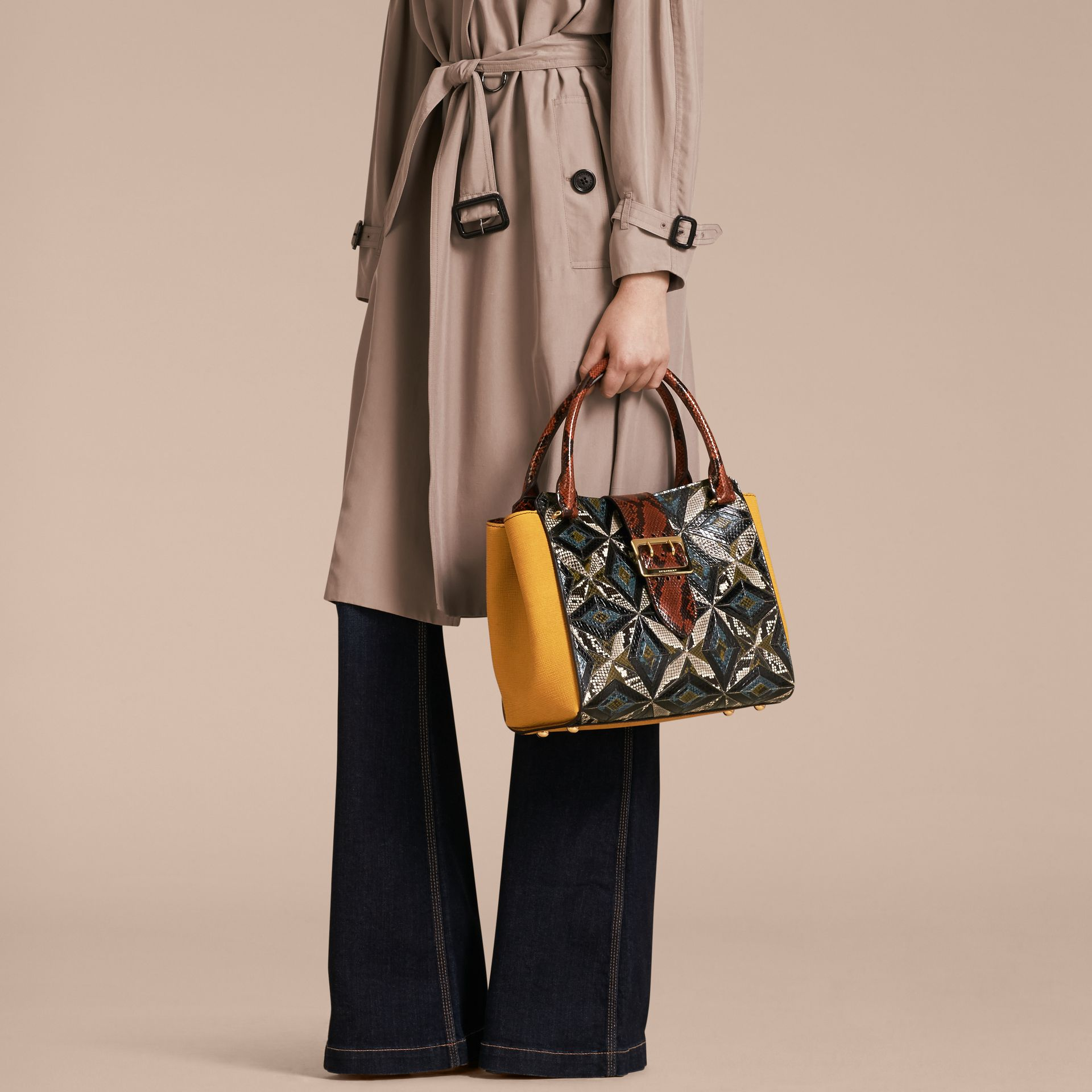 The Medium Buckle Tote in Tiled Snakeskin in Mineral Blue - Women | Burberry - gallery image 2