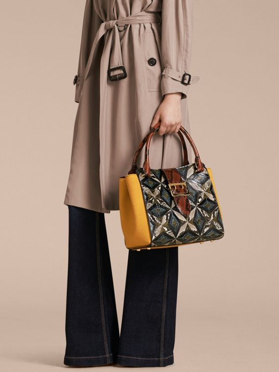 The Medium Buckle Tote in Tiled Snakeskin in Mineral Blue - Women | Burberry - cell image 2