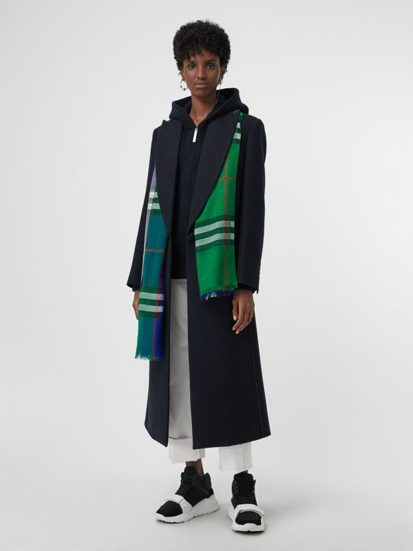 Colour Block Check Wool Silk Scarf in Teal | Burberry United States - cell image 2