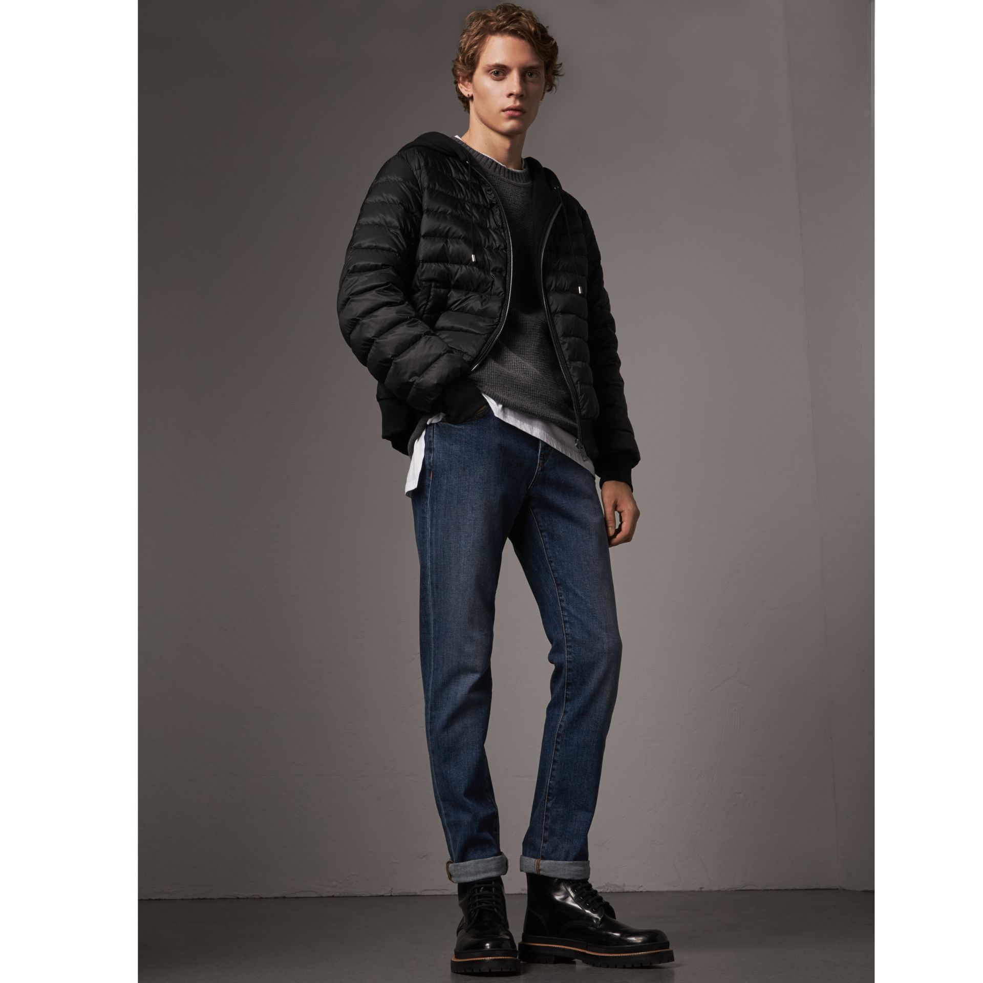 Reversible Down-filled Hooded Bomber Jacket in Black - Men | Burberry - gallery image 0
