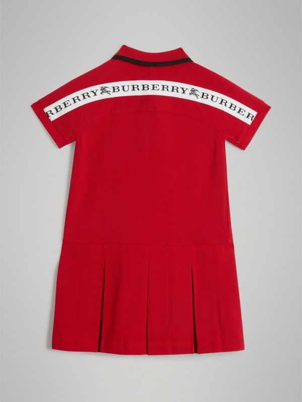 Tape Detail Polo Dress in Bright Red | Burberry Hong Kong - cell image 3