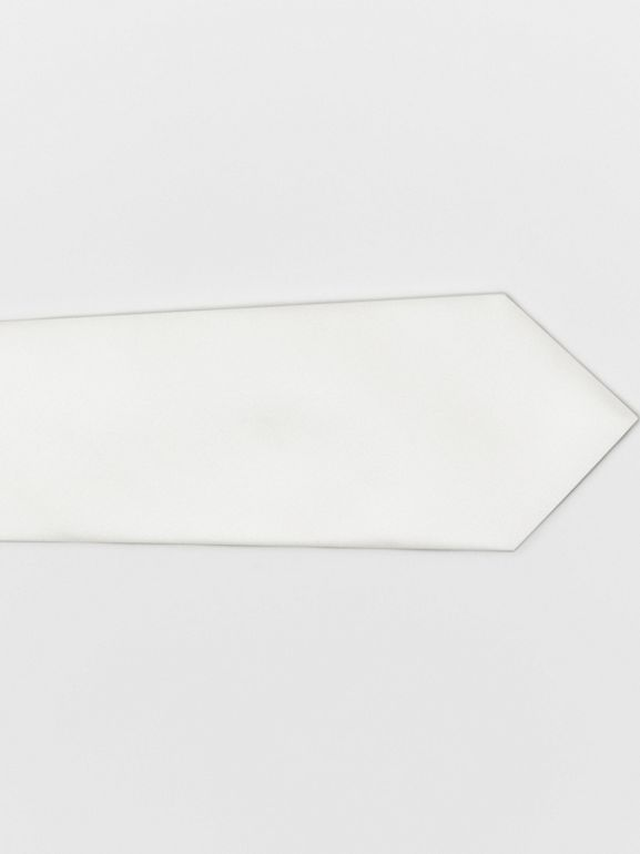 Modern Cut Silk Satin Tie in White - Men | Burberry - cell image 1