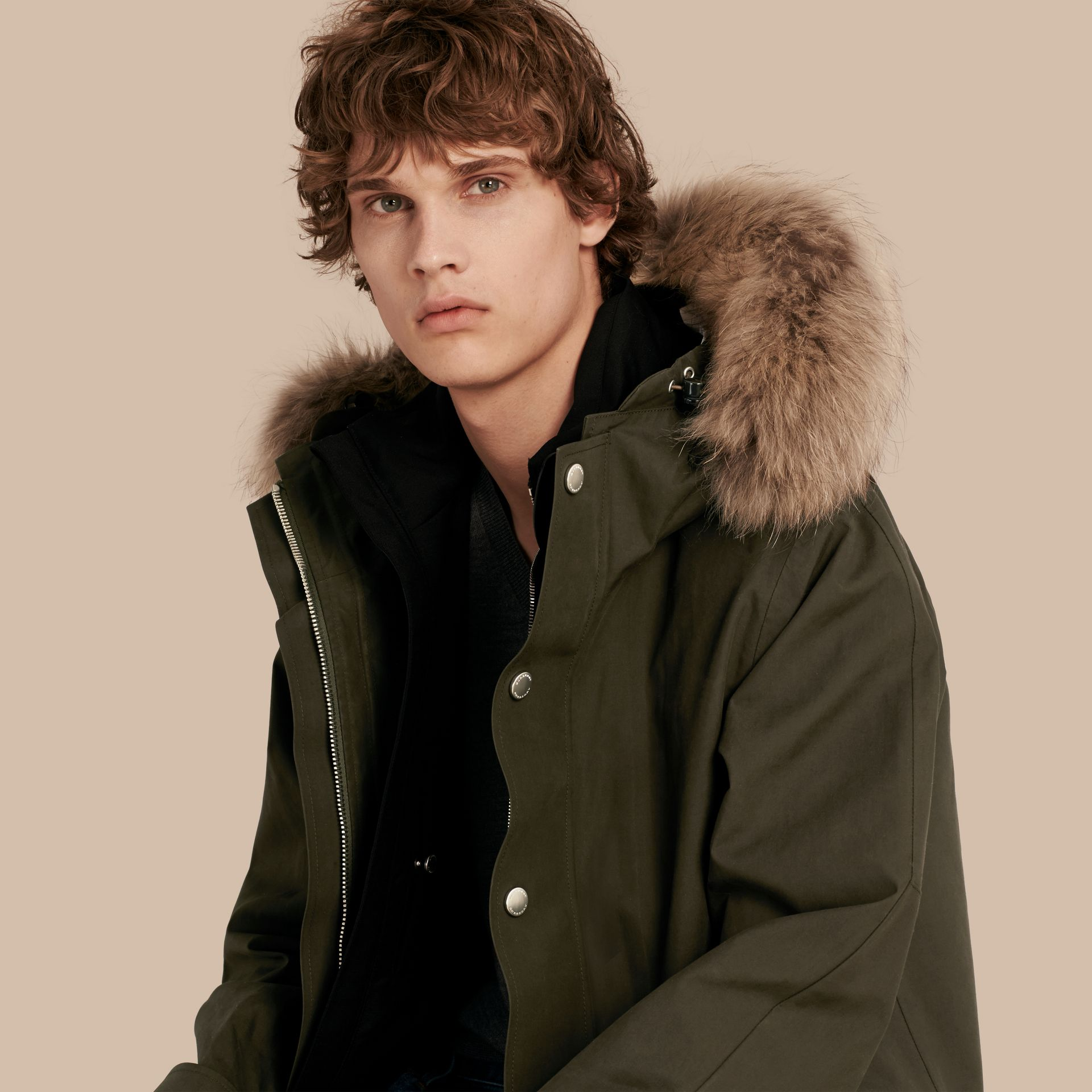 Dark olive Bonded Cotton Parka Coat with Down-filled Warmer - gallery image 1