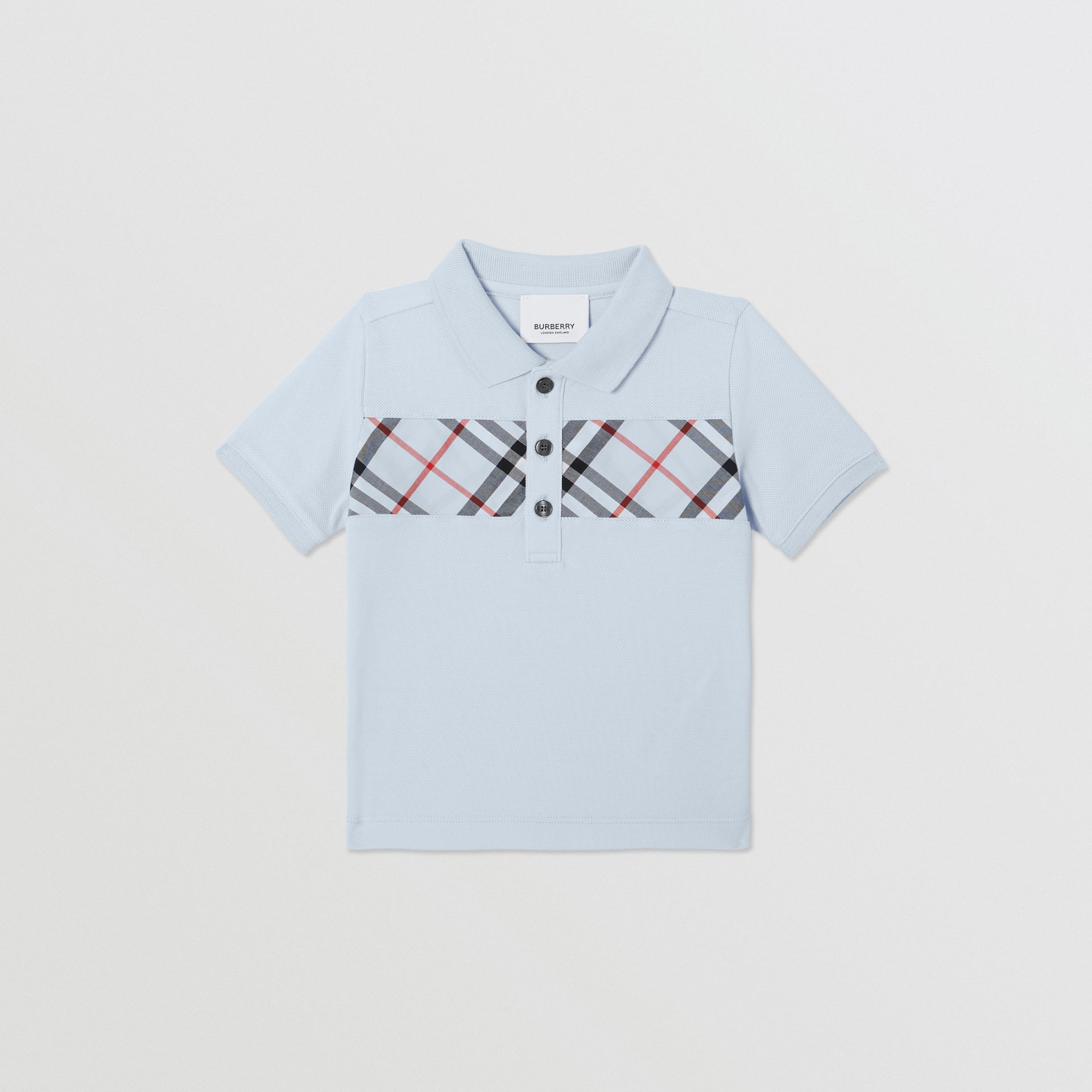 Vintage Check Panel Cotton Polo Shirt in Light Blue - Children | Burberry United Kingdom - gallery image 0