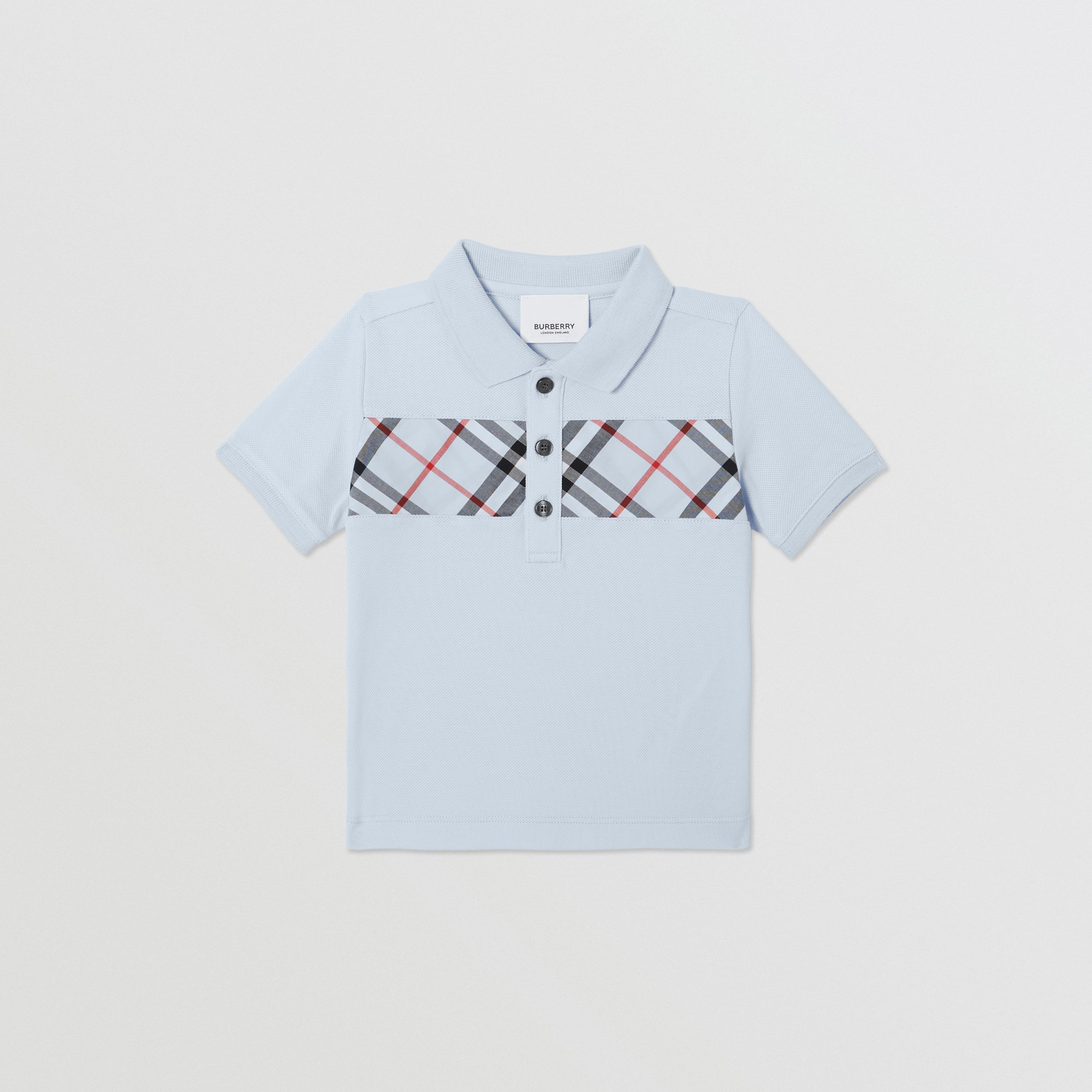 Vintage Check Panel Cotton Polo Shirt in Light Blue - Children | Burberry - 1