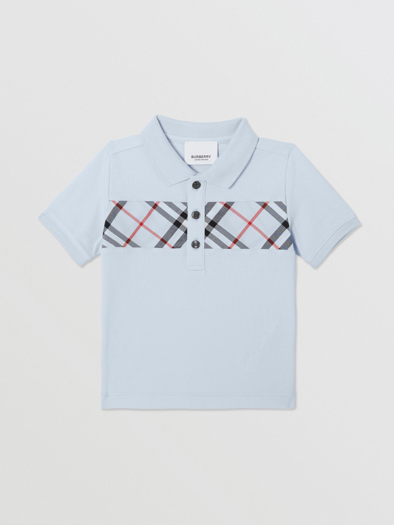 Vintage Check Panel Cotton Polo Shirt in Light Blue