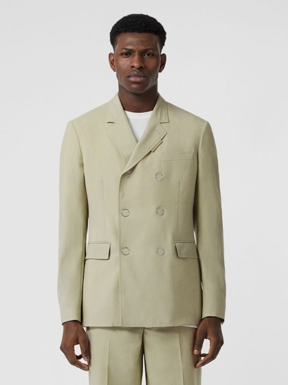 Slim Fit Press-stud Wool Tailored Jacket in Matcha