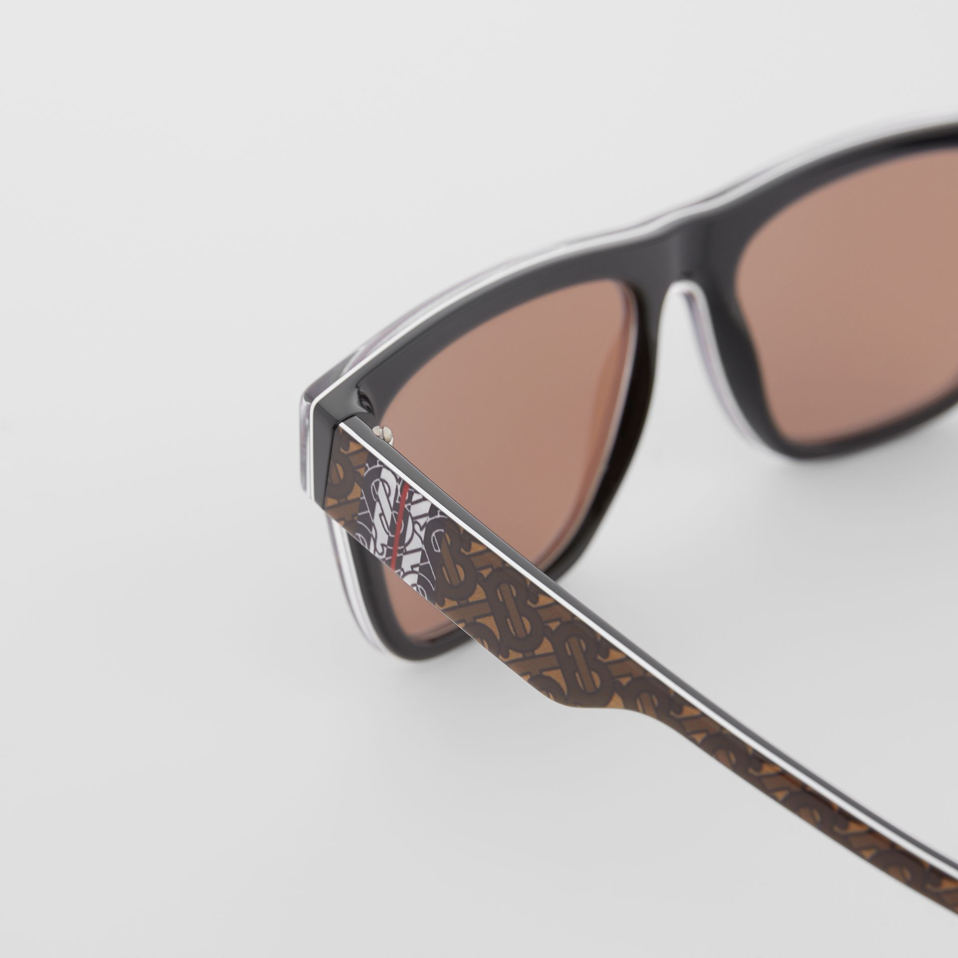 Monogram Stripe Square Frame Sunglasses in Honey | Burberry United States - gallery image 1