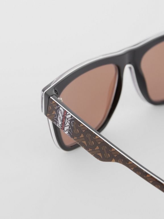 Monogram Stripe Square Frame Sunglasses in Honey | Burberry United States - cell image 1