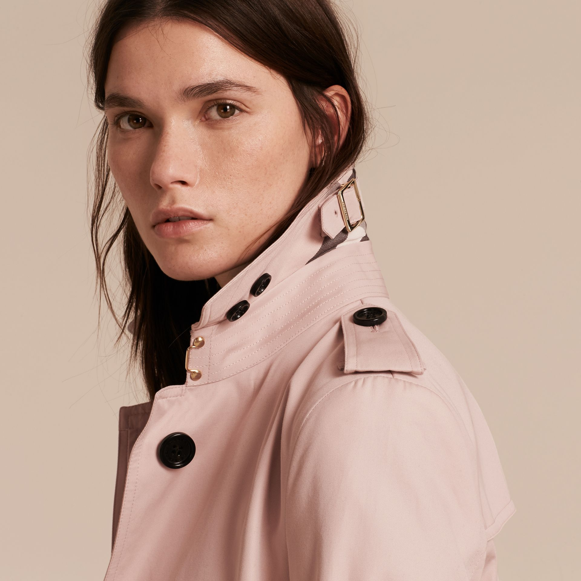 Single-breasted Trench Coat with Metal Buckle Detail Ice Pink - gallery image 7
