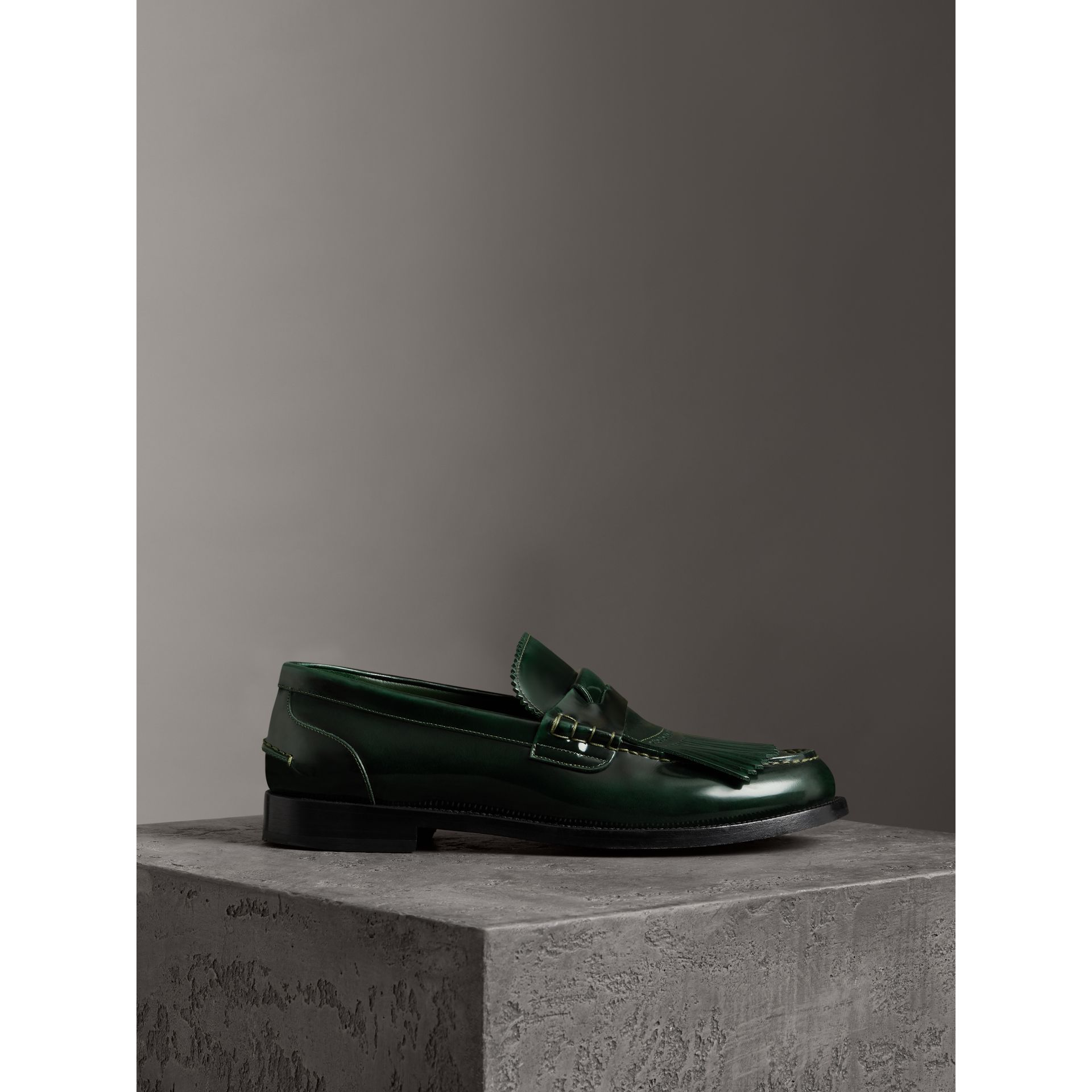 Kiltie Fringe Leather Loafers in Bottle Green - Men | Burberry - gallery image 3