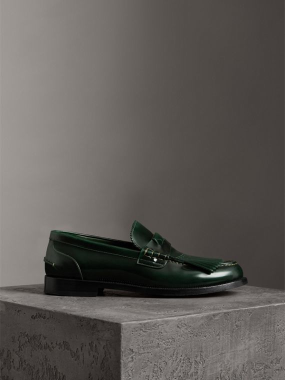 Kiltie Fringe Leather Loafers in Bottle Green
