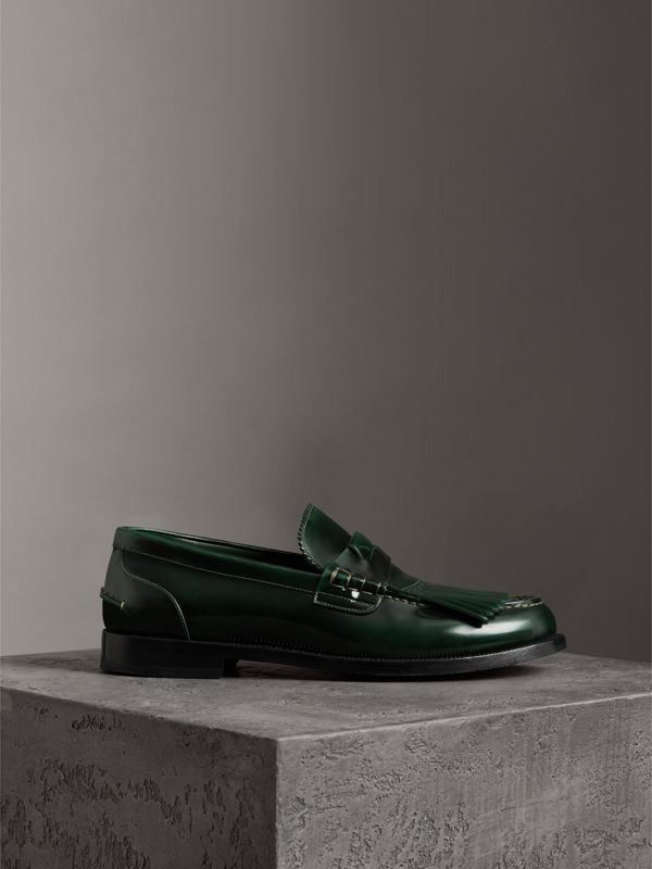 Kiltie Fringe Leather Loafers in Bottle Green - Men | Burberry - cell image 3