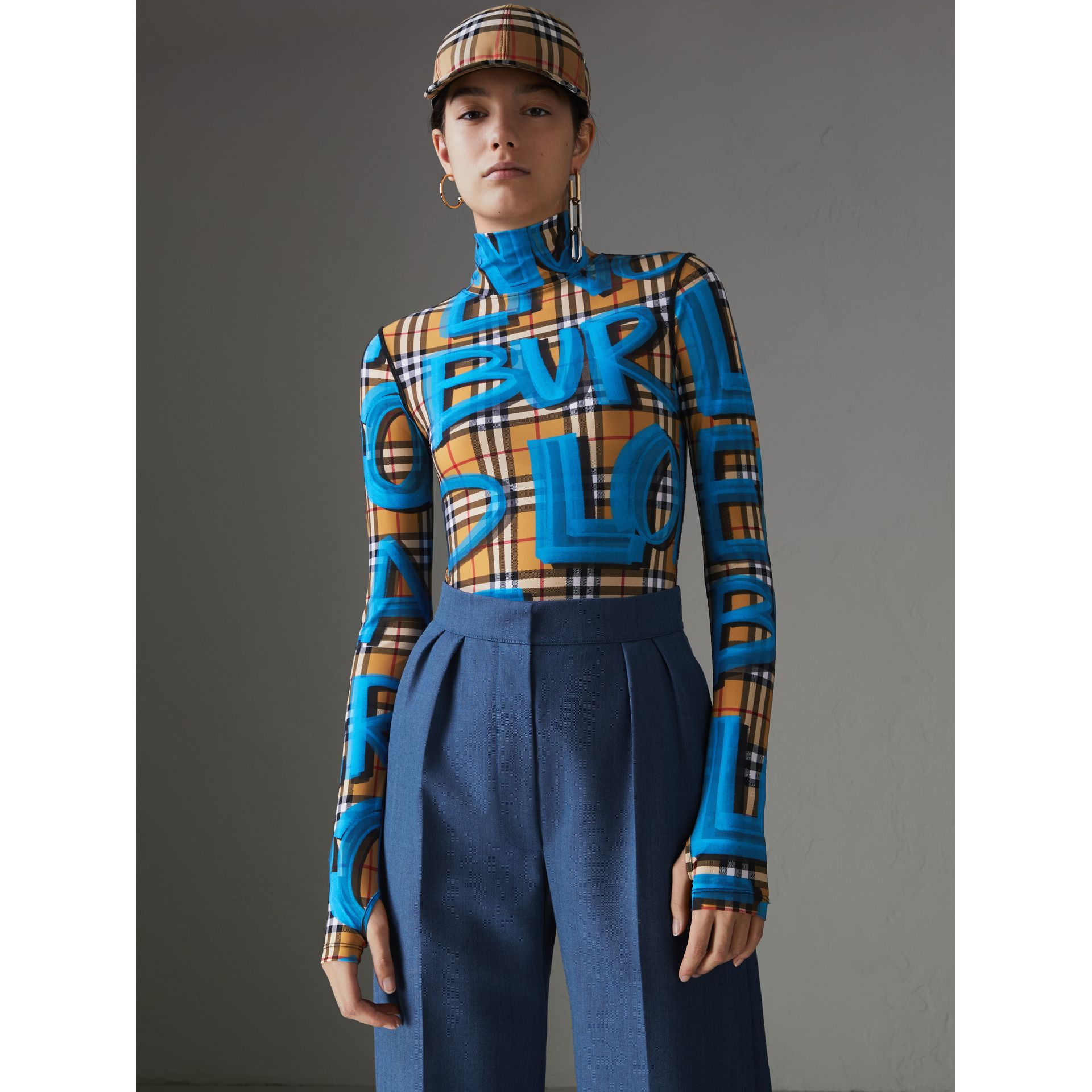 Graffiti Vintage Check Jersey Turtleneck Bodysuit in Bright Blue - Women | Burberry - gallery image 5