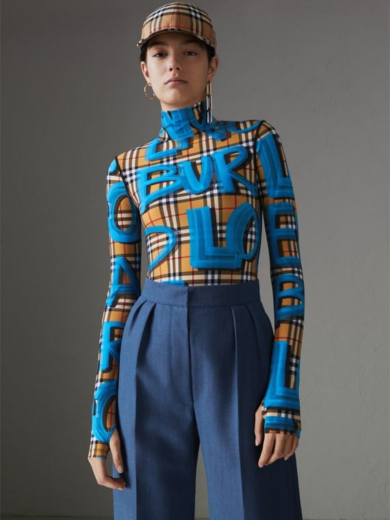 Graffiti Vintage Check Jersey Turtleneck Bodysuit in Bright Blue