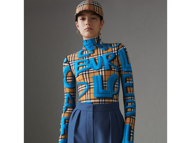 Graffiti Vintage Check Jersey Turtleneck Bodysuit in Bright Blue - Women | Burberry United States - cell image 4