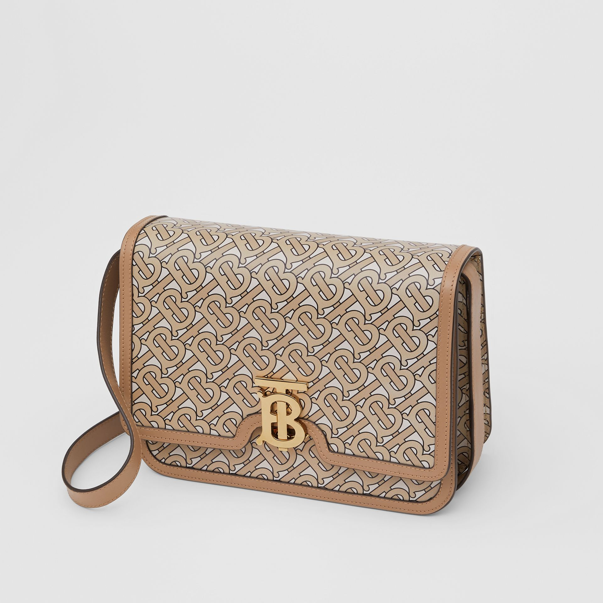 Medium Monogram Print Leather TB Bag in Beige - Women | Burberry Australia - gallery image 3