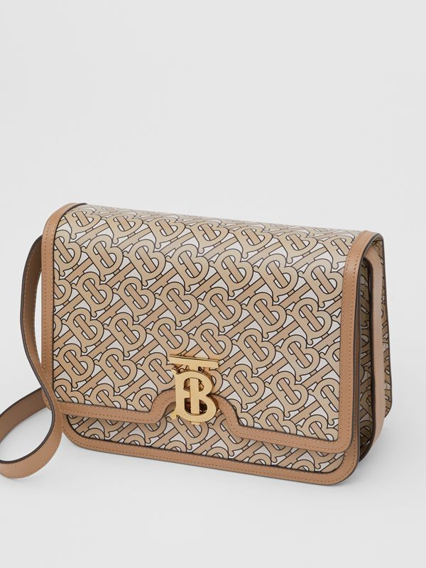 Medium Monogram Print Leather TB Bag in Beige - Women | Burberry - cell image 3