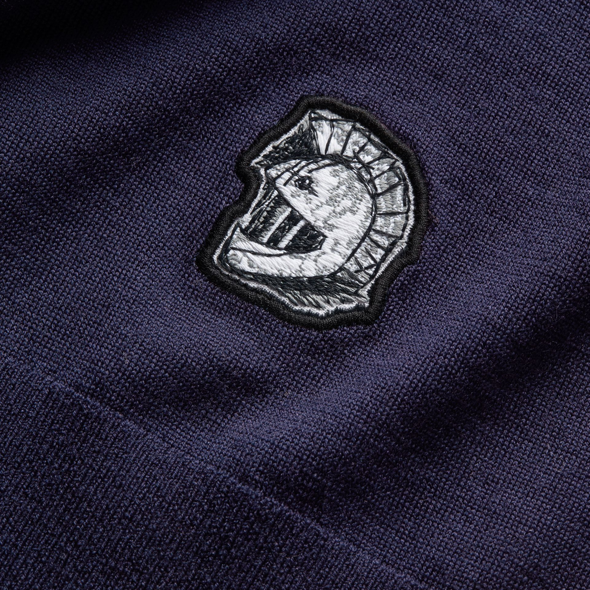 Pallas Helmet Motif Merino Wool V-neck Sweater in Navy - Men | Burberry - gallery image 2