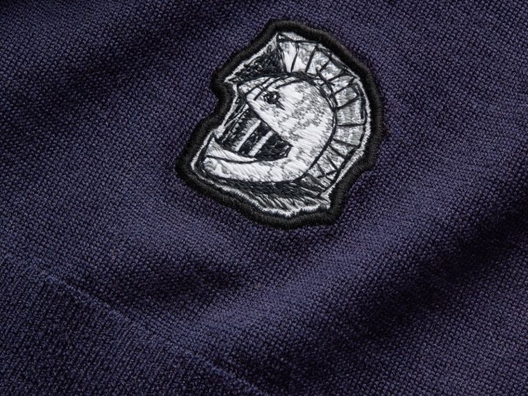 Pallas Helmet Motif Merino Wool V-neck Sweater in Navy - Men | Burberry - cell image 1