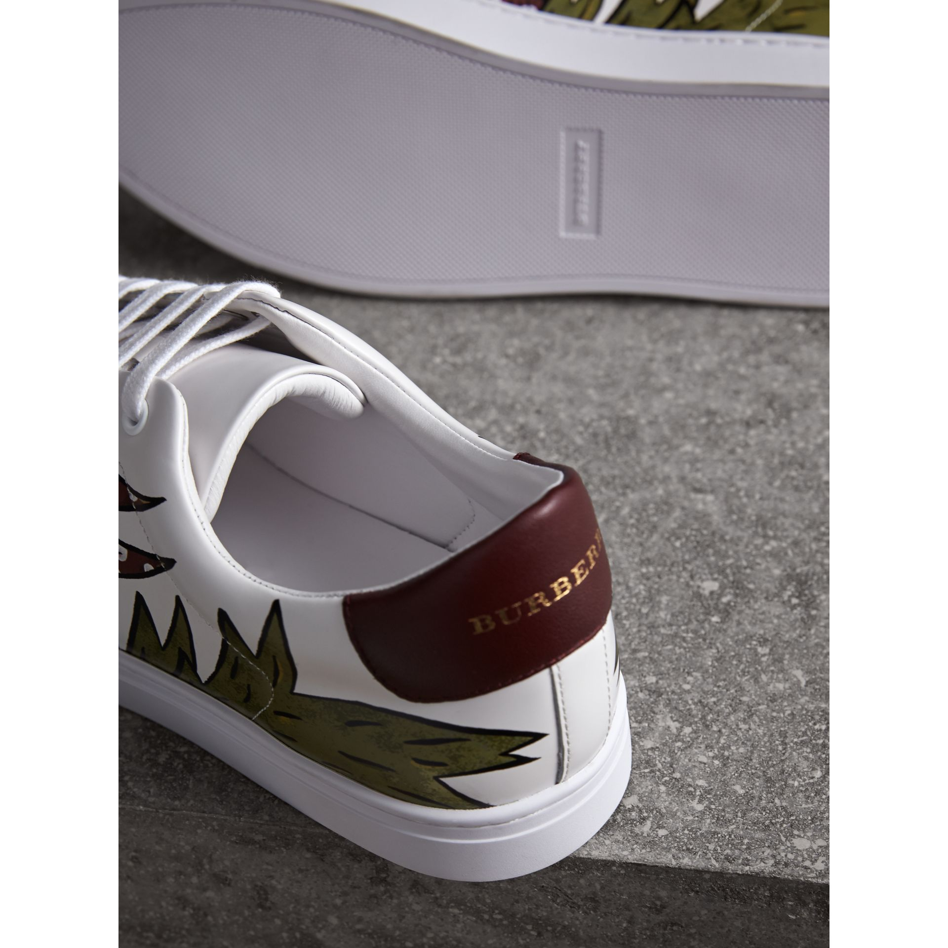 Beasts Print Leather Trainers in Optic White - Men | Burberry - gallery image 2