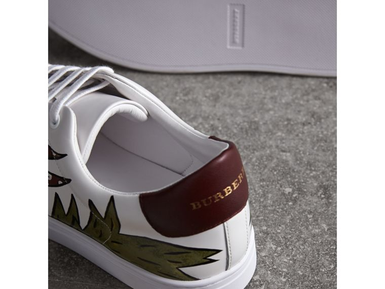 Beasts Print Leather Trainers in Optic White | Burberry Singapore - cell image 1