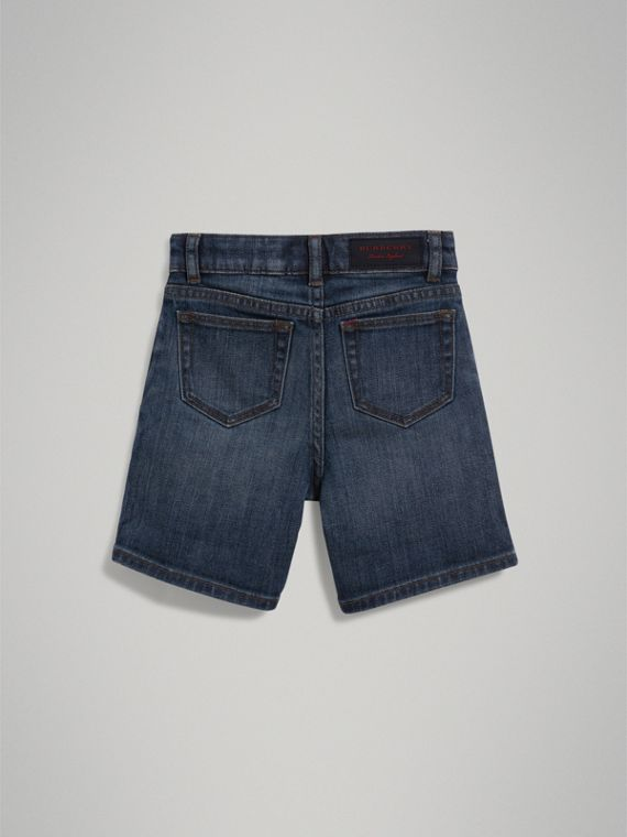 Relaxed Fit Stretch Denim Shorts in Mid Indigo - Boy | Burberry - cell image 3