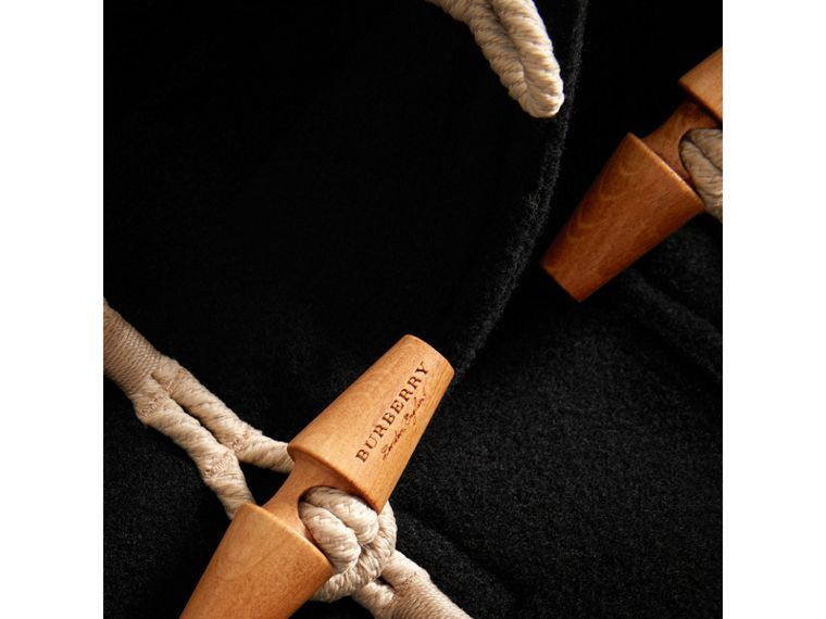 Glossy Detail Down-filled Wool Blend Duffle Coat in Black - Girl | Burberry United States - cell image 1