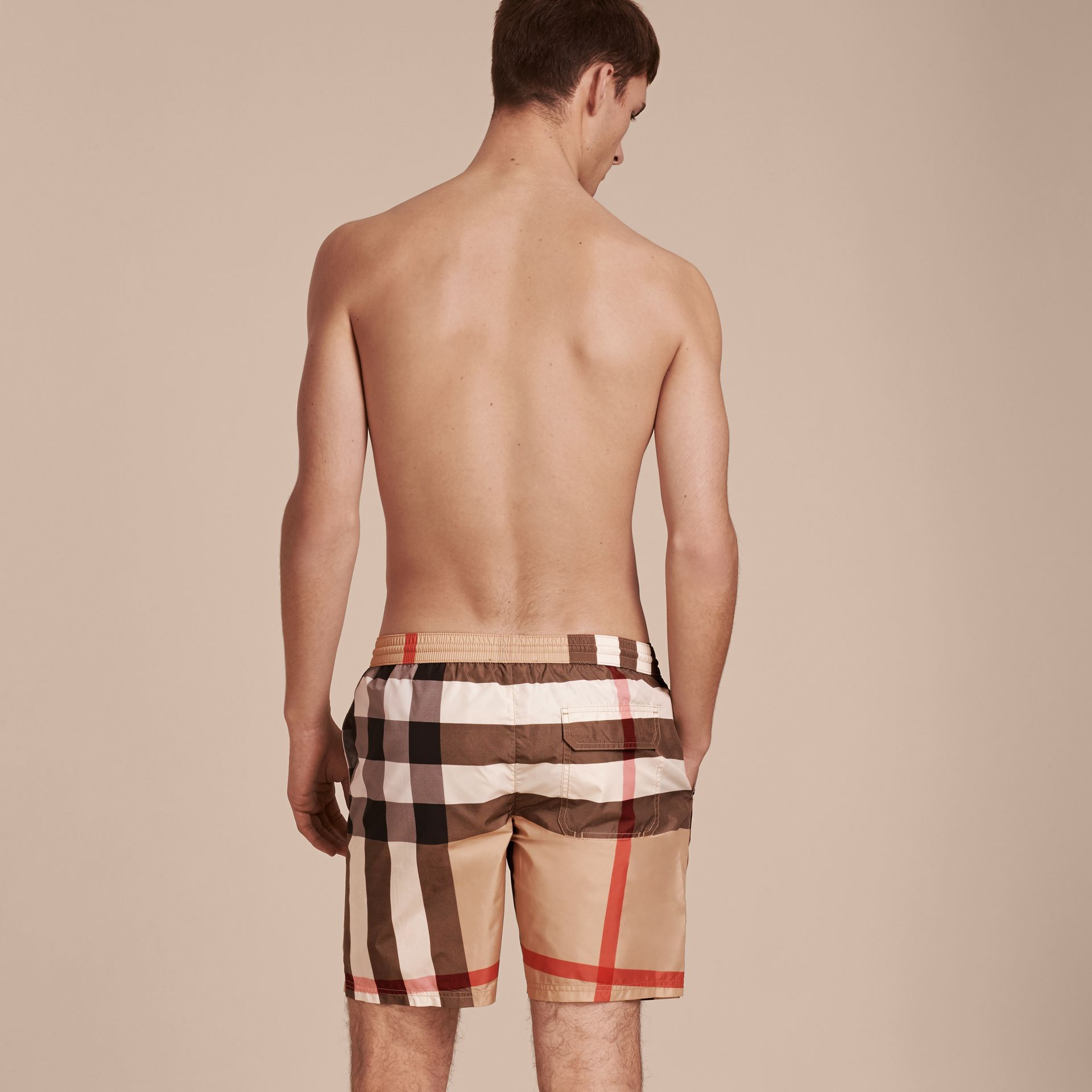 Check Swim Shorts Camel - gallery image 3