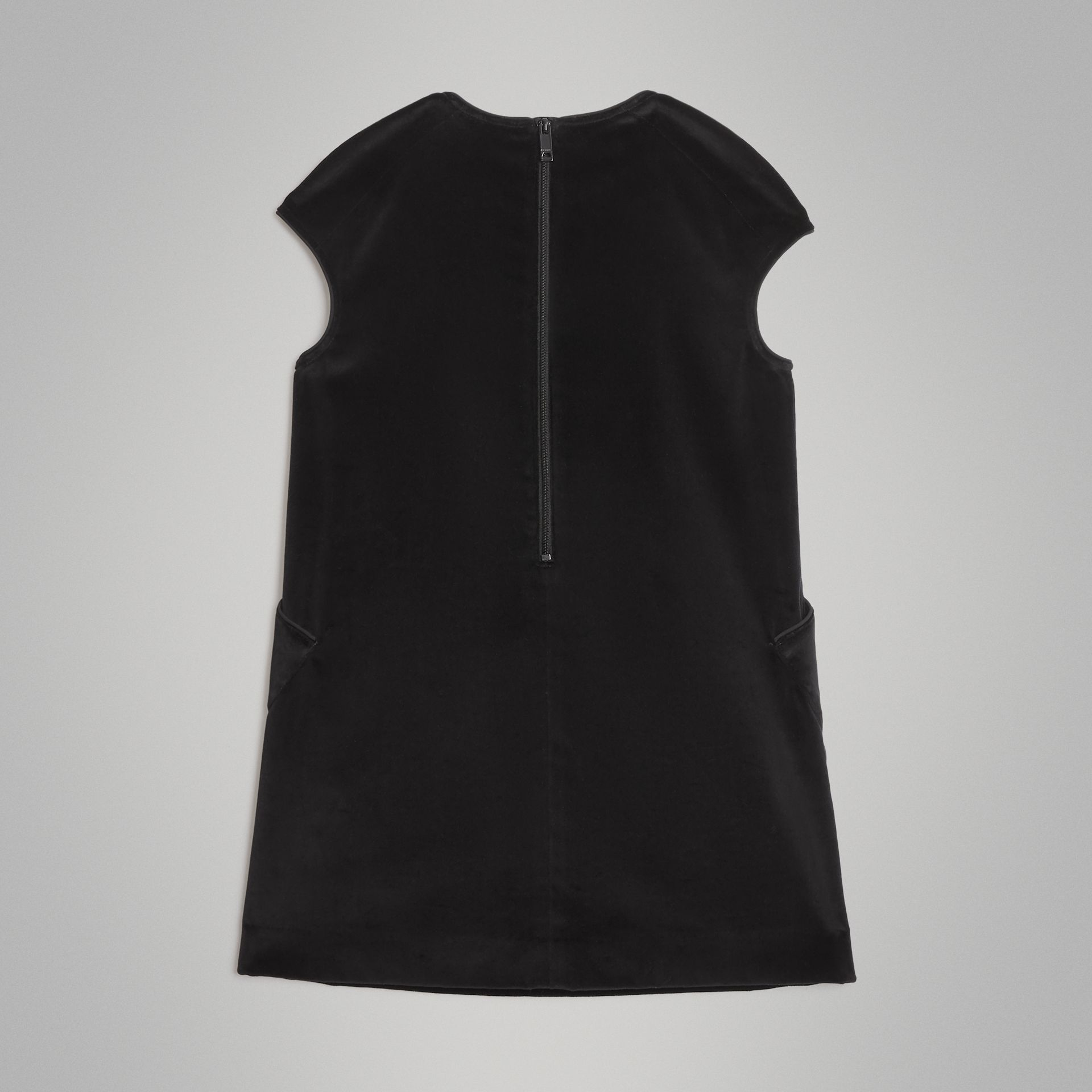 Piping Detail Velvet Shift Dress in Black | Burberry Canada - gallery image 3