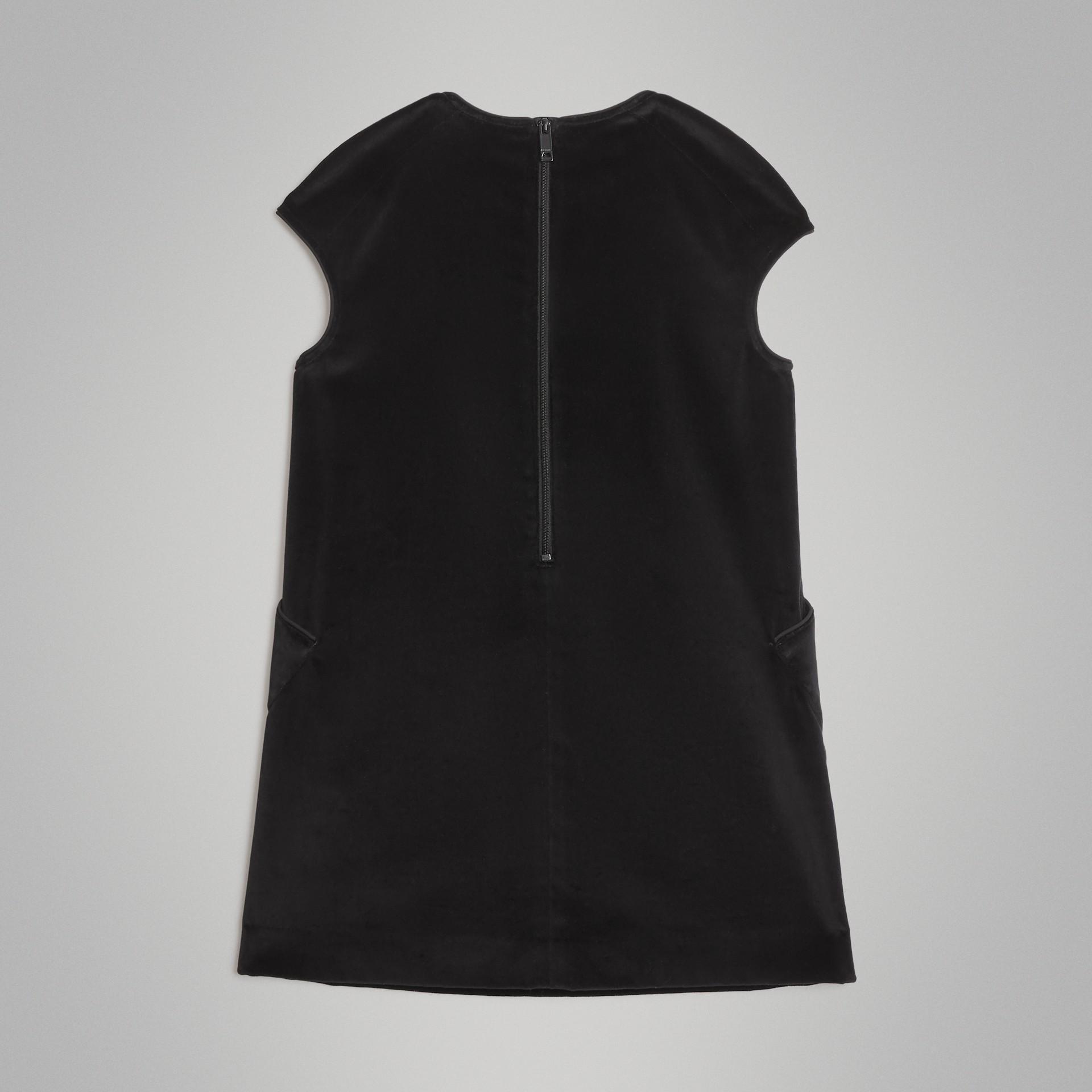 Piping Detail Velvet Shift Dress in Black | Burberry United States - gallery image 3