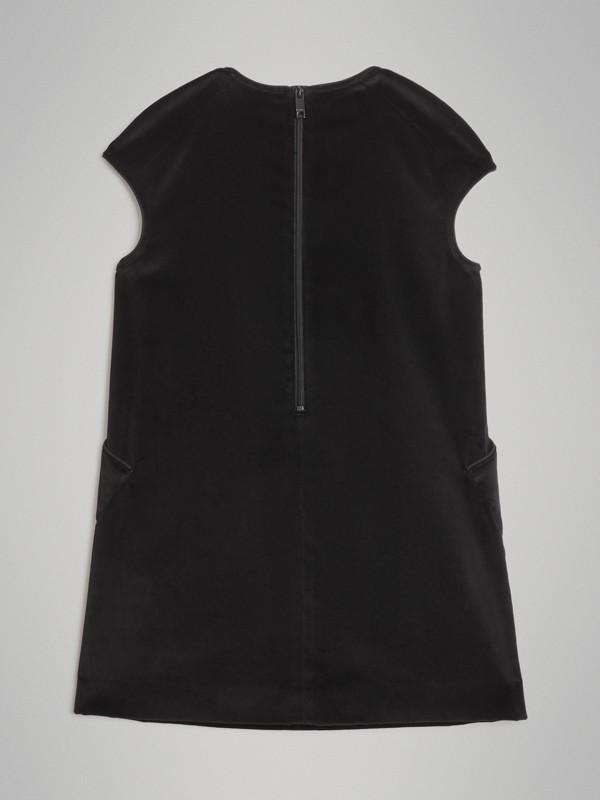 Piping Detail Velvet Shift Dress in Black | Burberry United States - cell image 3