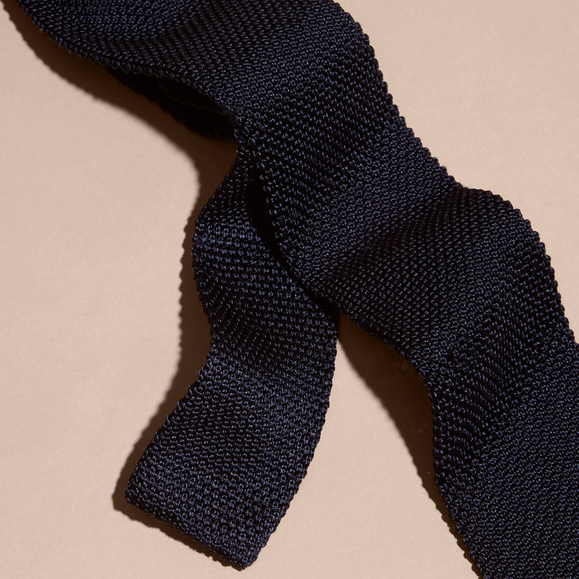 Navy Slim Cut Knitted Silk Tie Navy - gallery image 2