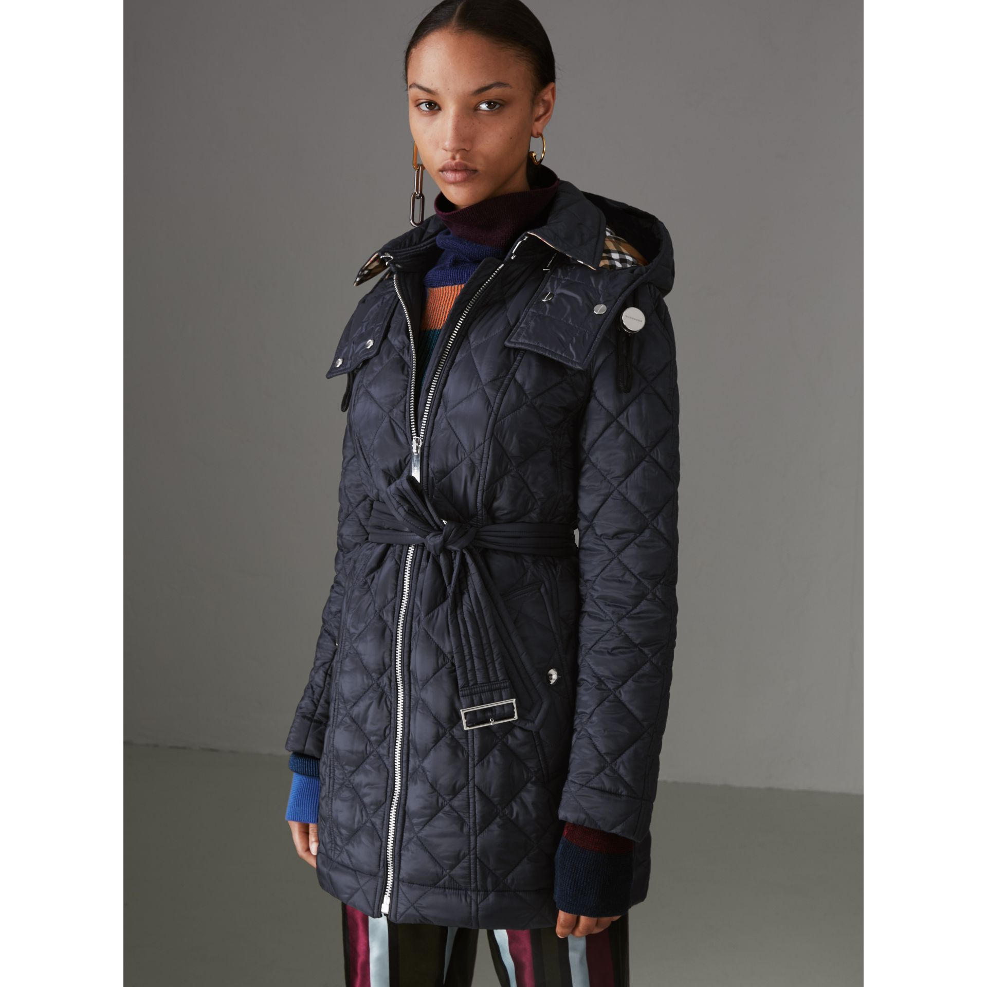 Detachable Hood Lightweight Diamond Quilted Coat in Ink - Women | Burberry - gallery image 5