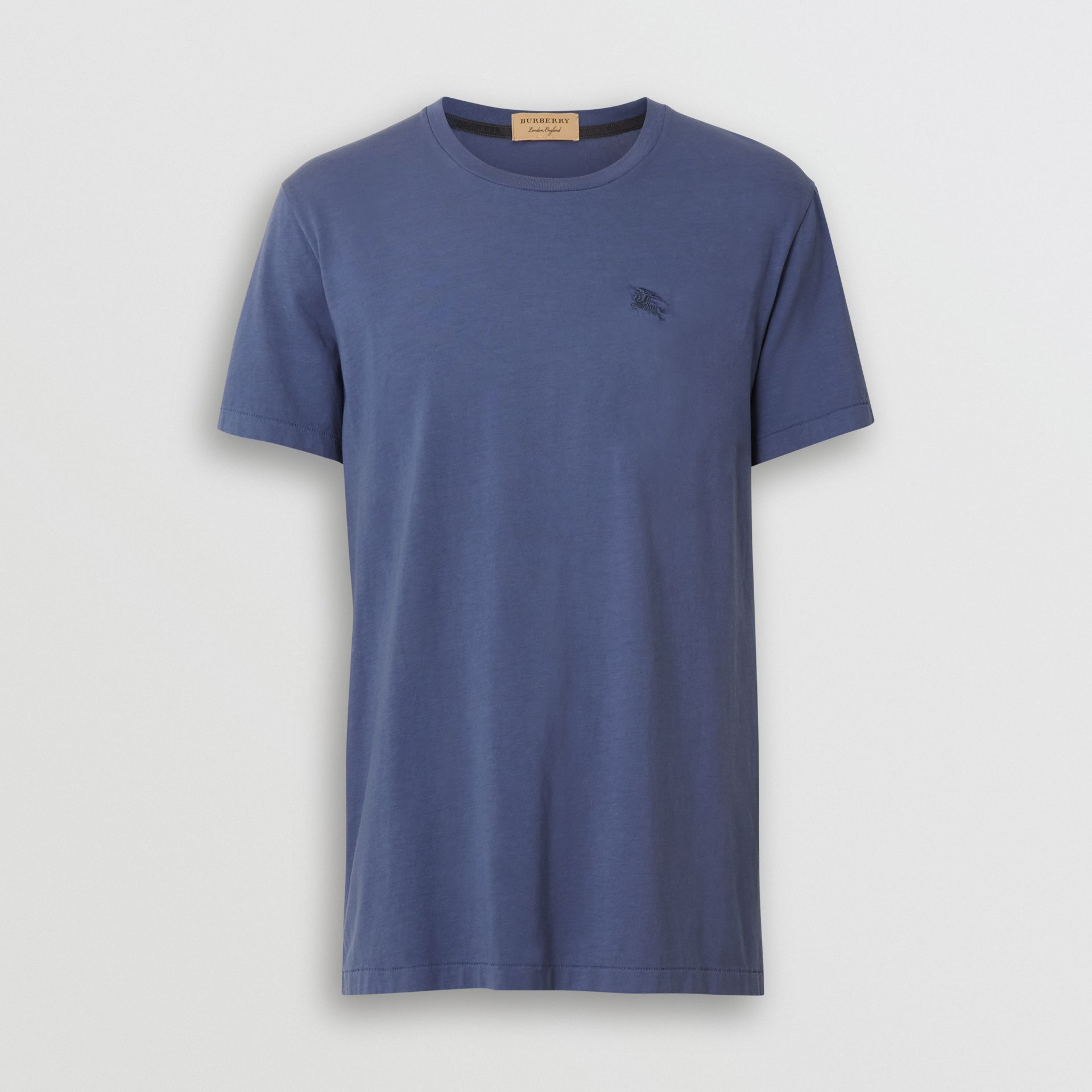 Cotton T-shirt in Pebble Blue - Men | Burberry - gallery image 3