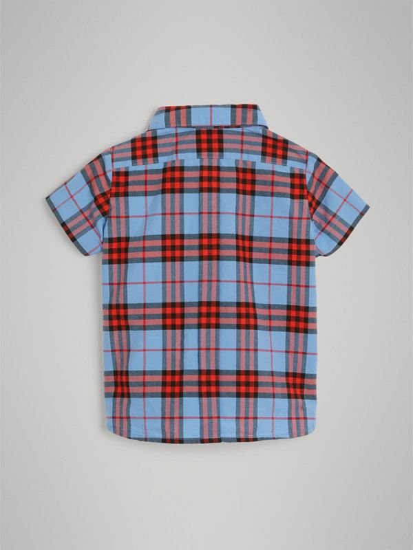 Short-sleeve Check Cotton Shirt in Cornflower Blue - Children | Burberry - cell image 3