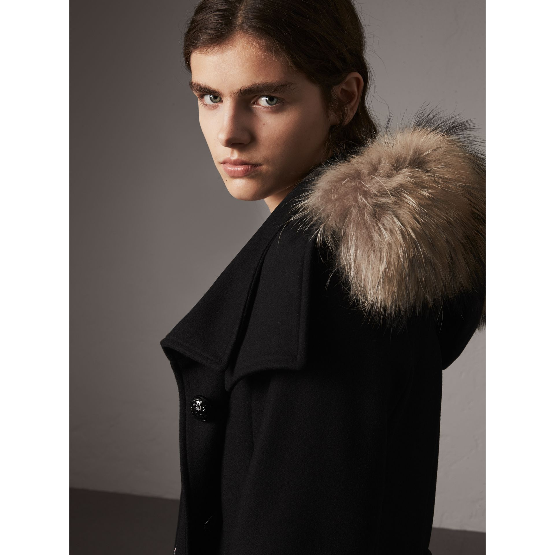Hooded Wool Blend Coat with Detachable Fur Trim in Black - Women | Burberry - gallery image 5
