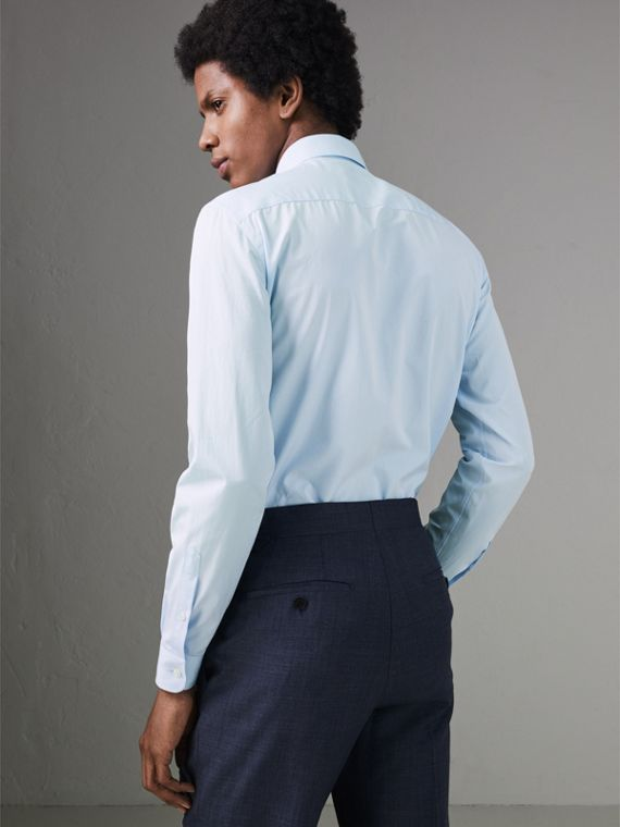 Slim Fit Cotton Poplin Shirt in City Blue - Men | Burberry Hong Kong - cell image 2