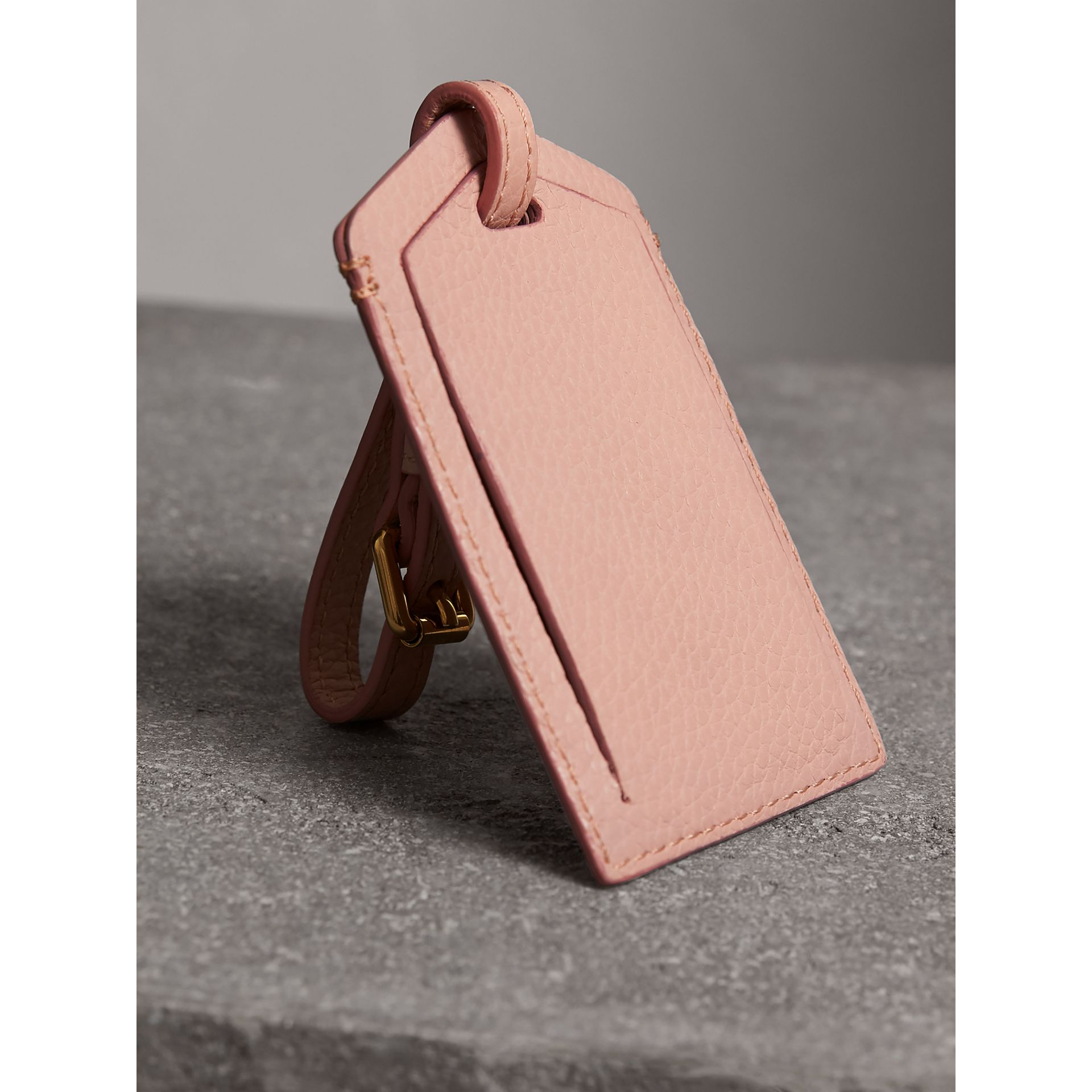 Grainy Leather Luggage Tag in Pale Ash Rose | Burberry - gallery image 2