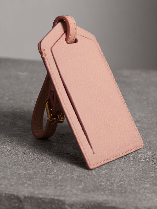 Grainy Leather Luggage Tag in Pale Ash Rose | Burberry Australia - cell image 2