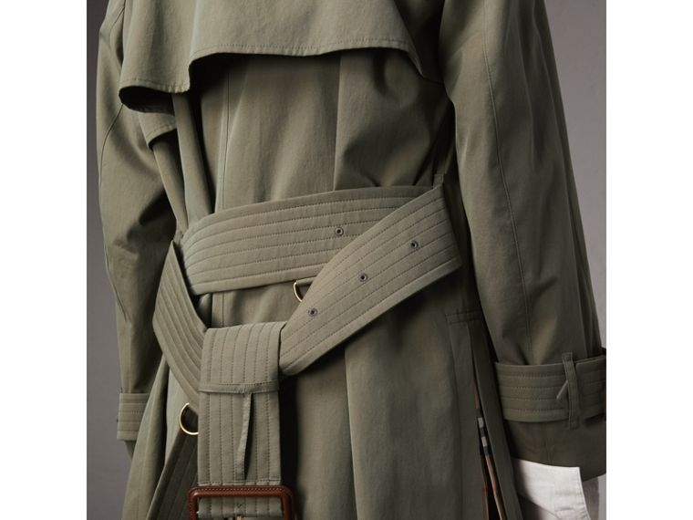 Side-slit Tropical Garbadine Trench Coat in Chalk Green - Women | Burberry - cell image 4