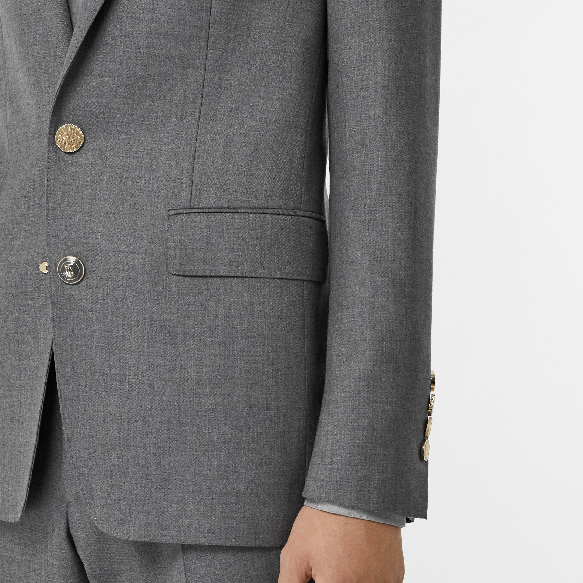 English Fit Metal Button Wool Tailored Jacket in Light Grey | Burberry - gallery image 4