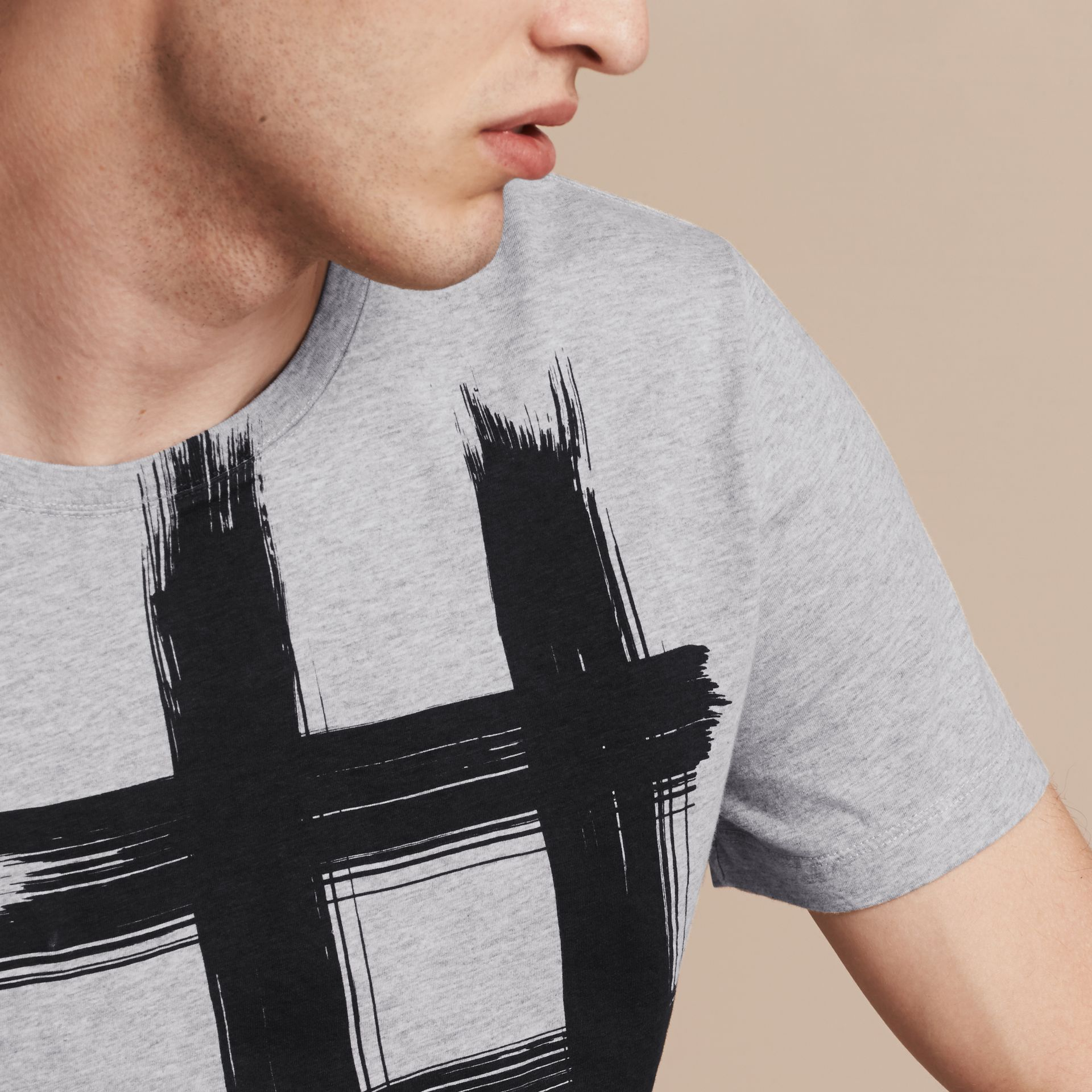 Pale grey melange Brushstroke Check Print Cotton T-Shirt Pale Grey Melange - gallery image 5