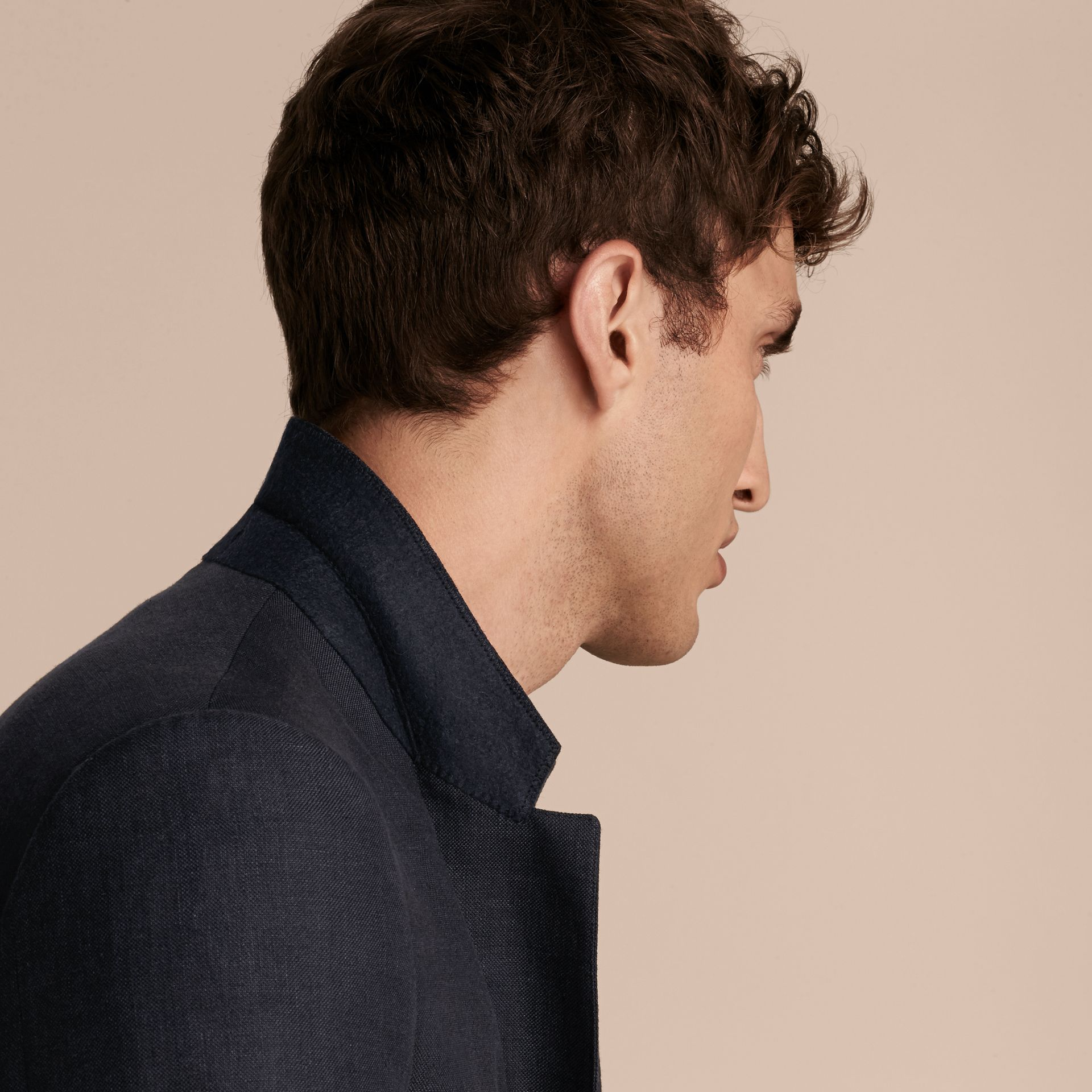 Dark navy Modern Fit Linen Wool Silk Jacket - gallery image 6