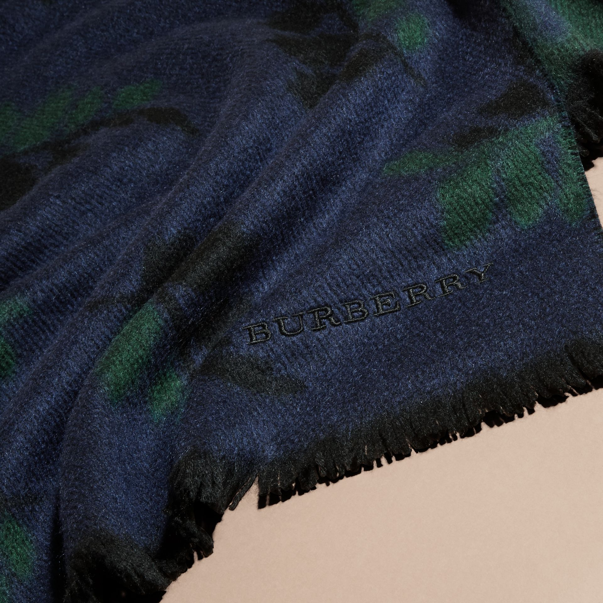 Navy Leaf Jacquard Cashmere Scarf Navy - gallery image 2