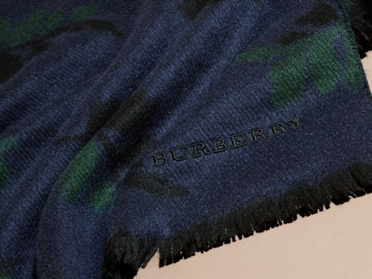 Navy Leaf Jacquard Cashmere Scarf Navy - cell image 1